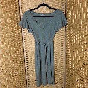 Michael Stars Brownish Gray Flutter Sleeve Dress